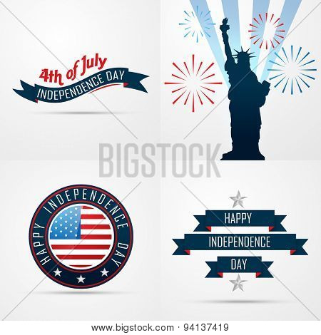 vector set of creative pattern of american flag design of 4th july independence day illustration