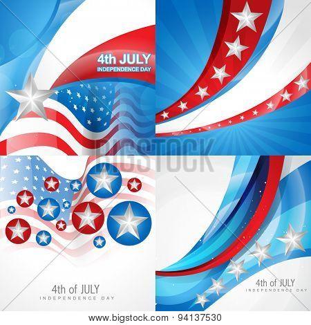 vector set of american independence day flag design background illustration