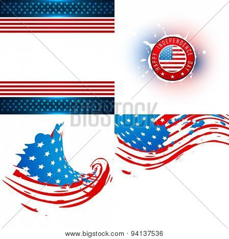 vector collection of american flag design illustration with creative pattern and wave style