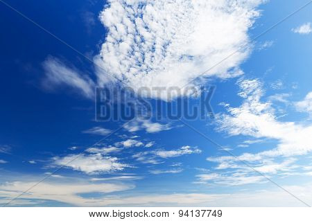 Bright Beautiful Blue Sky With Clouds, As Background