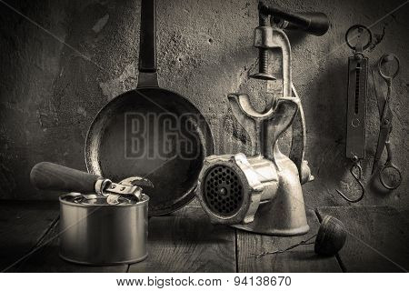 Obsolete Kitchenware. Vintage Toned Photo