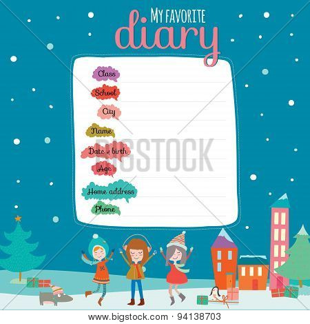 Christmas design for notebook, diary, organizers