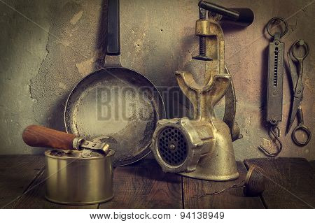 A Lot Of Old Kitchen Tools - Toned Photo