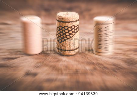 Wine corks on wooden table - blurred style photo