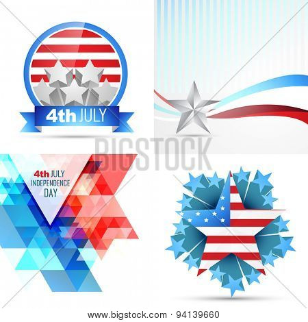 vector set of american independence day flag design illustration with creative pattern