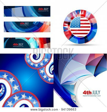 vector set of american flag design illustration of 4th july independence day with banner, badge and creative pattern