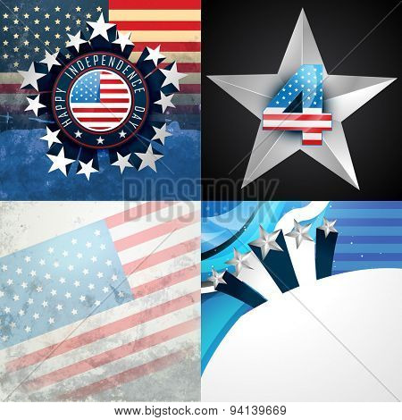 vector stylish set of american independence day background illustration