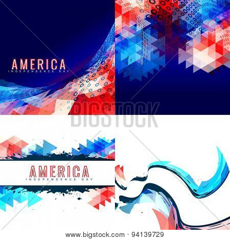 vector creative pattern set of american independence day background illustration