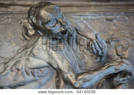 Paris - Museum Rodin. The Gates of Hell is a monumental sculptural group work by Rodin that depicts a scene from