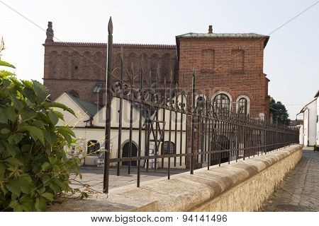 old synagogue in jewish district of Krakow - Kazimierz on szeroka street in Poland