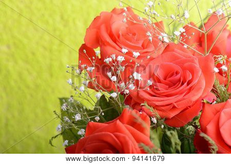 Bouquet Of Blossoming Dark Red Roses In Vase, Close Up Flower