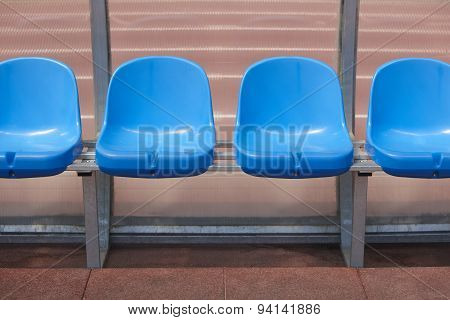 Stadium Seats For Substitutes And Trainer In A Football Ground