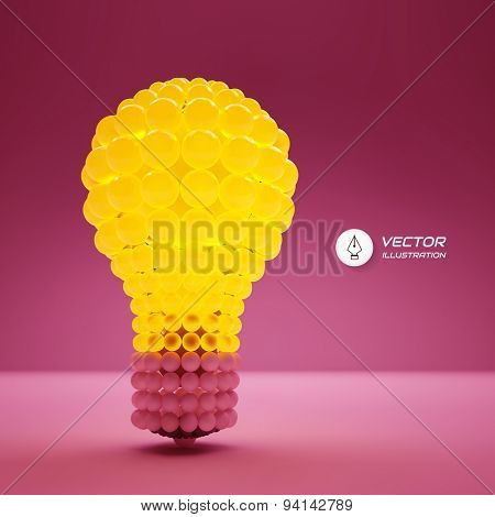 Lightbulb. Idea concept. 3d vector illustration. Can be used for business presentation.