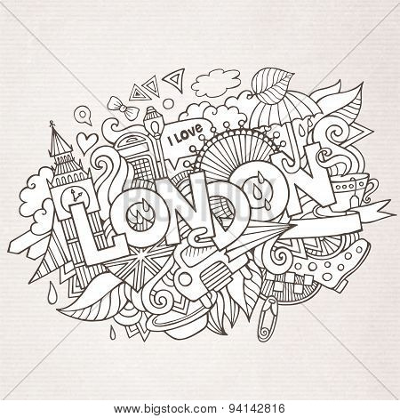 London hand lettering and doodles elements background.