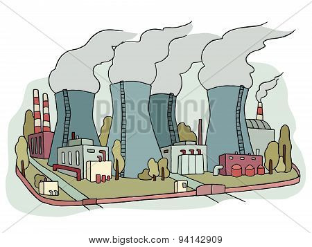 Sketch Of Nuclear Power Station