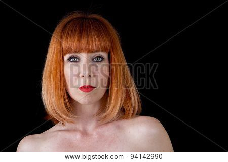 Woman With Bright Red Hair Naked Shoulders Isolated On Black Background