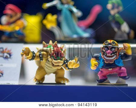 LOS ANGELES - June 16, 2015: Bowser and Wario skylanders style Amiibo figures on display at E3 2015 expo. Electronic Entertainment Expo is an annual trade fair for the video game industry.
