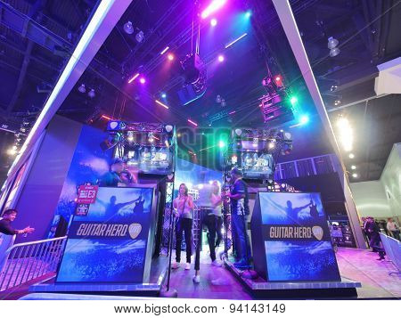 LOS ANGELES - June 17: Guitar Hero booth at E3 2015 expo. Electronic Entertainment Expo, commonly known as E3, is an annual trade fair for the video game industry
