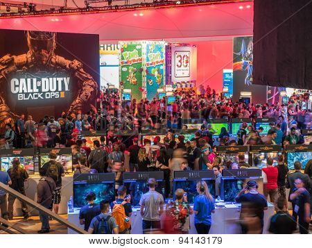 LOS ANGELES - June 16, 2015: Crowds of people at E3 2015 expo in Convention Center. Electronic Entertainment Expo, commonly known as E3, is an annual trade fair for the video game industry.