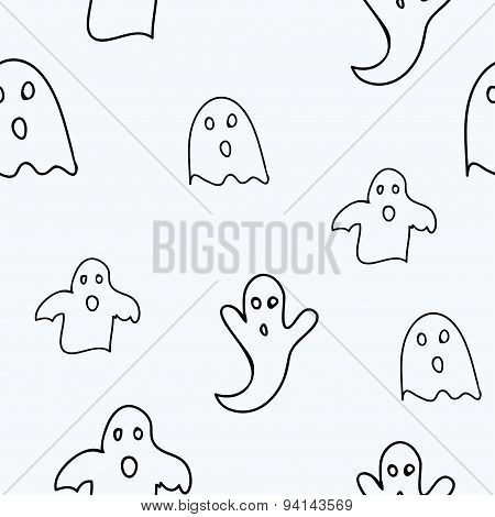 Scary ghosts seamless pattern