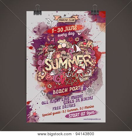 Vector summer watercolor paint party poster