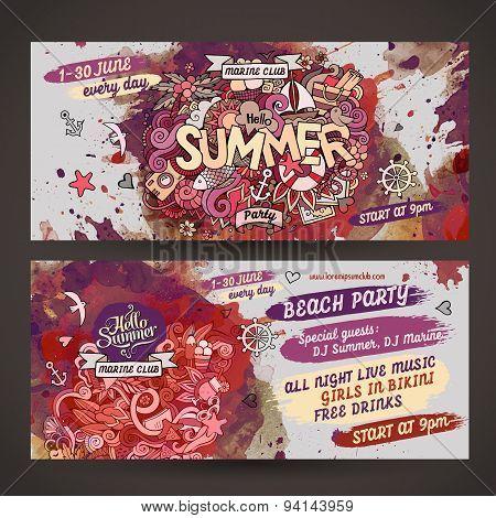 Vector summer watercolor paint party flyer design