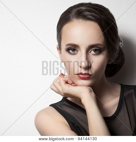 Beautiful Woman. Upsweep. Hairstyle. Space For Text.