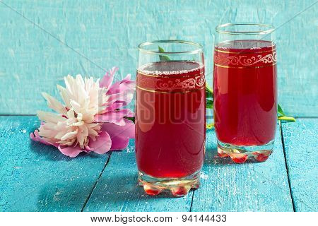 Summer Drink With Cranberry Juice And Peony