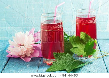 Refreshing Drink With Cranberry Juice And Peony