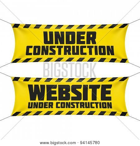Website under construction banner. Vector.