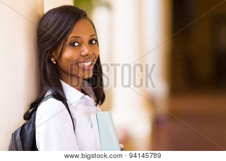 beautiful young african female college student close up