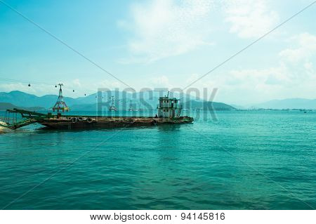 Sea View With Old Cargo Ship