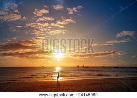 Dramatic sunset on the beach