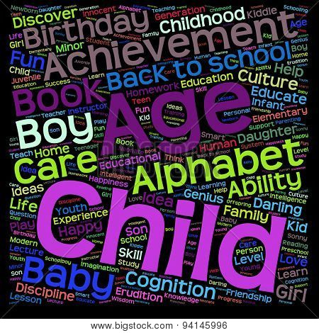 Concept or conceptual education abstract word cloud, black background