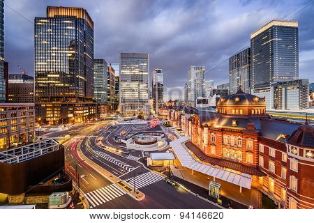 Tokyo, Japan at the Marunouchi business district and Tokyo Station.