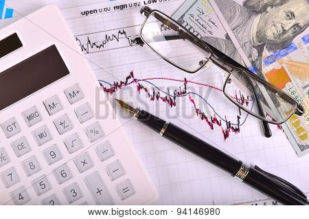 Business concept with calculator money and documents