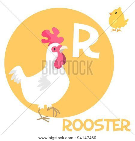 Funny cartoon animals vector alphabet letter set for kids. R is rooster.