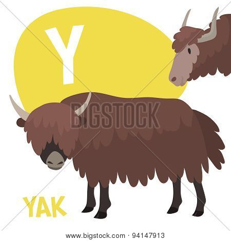 Funny cartoon animals vector alphabet letter set for kids. Y is yak