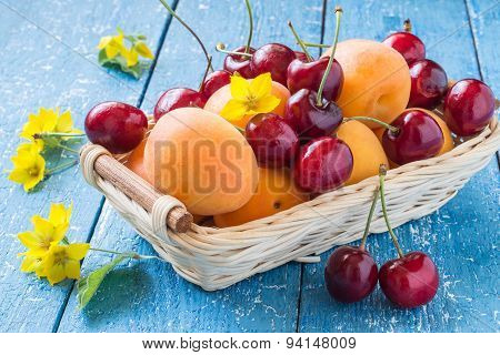 Basket With Cherries And Apricots Berries, Flowers Loosestrife