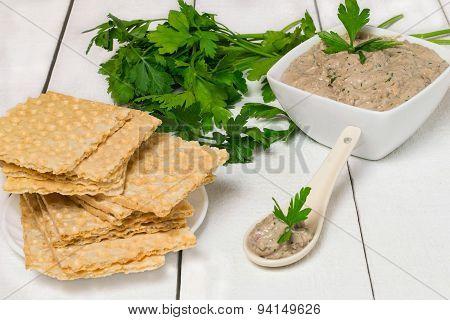 Fish Sardine Pate And Crispy Waffle Bread