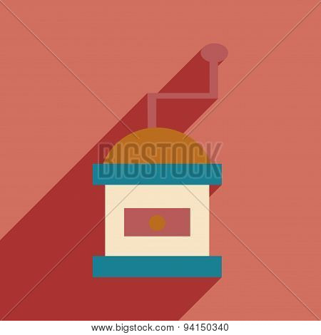 Flat with shadow icon and mobile application coffee mill