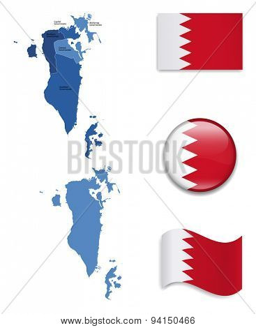 High Detailed Map of Bahrain With Flag Icons