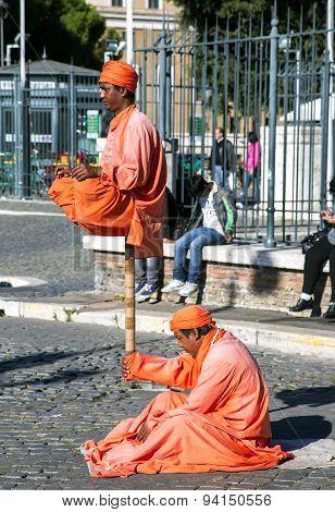 Performance of street artists near a castel Sant'Angelo