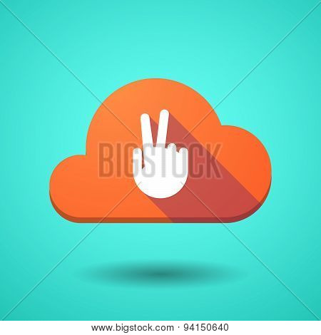 Cloud Icon With A Victory Hand