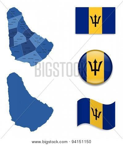 High Detailed Map of Barbados With Flag Icons