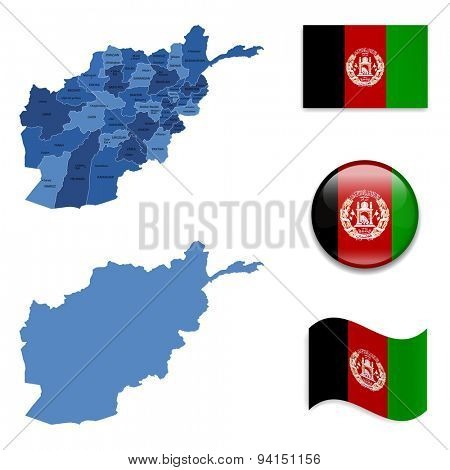 High Detailed Map of Afghanistan With Flag Icons