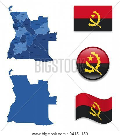 High Detailed Map of Angola With Flag Collection