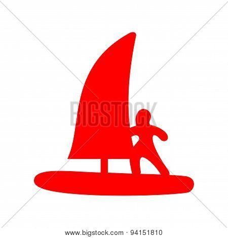 icon sticker realistic design on paper windsurfing