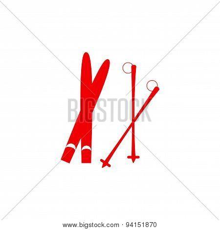 icon sticker realistic design on paper skis
