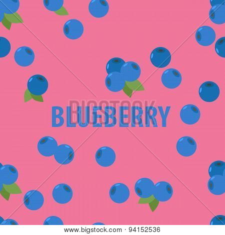 Seamless Pattern Of  Blueberry on a pink background